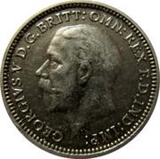 UK Three Pence George V 1935 KM# 831 GEORGIVS V D.G.BRITT:OMN:REX F.D.IND:IMP: B M coin obverse