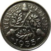 UK Three Pence George V 1935 KM# 831 THREE∙ ∙PENCE∙ G *YEAR* coin reverse