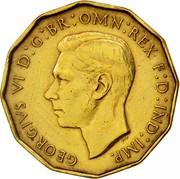 UK Three Pence George VI 1937 Proof KM# 849 GEORGIVS VI D:G:BR:OMN:REX F:D:IND:IMP. H P coin obverse