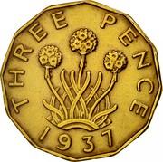 UK Three Pence George VI 1937 Proof KM# 849 THREE PENCE *YEAR* coin reverse