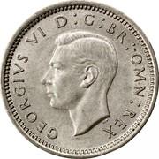 UK Three Pence George VI 1941 Proof KM# 848 GEORGIVS VI D:G:BR:OMN:REX HP coin obverse