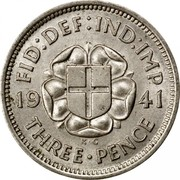 UK Three Pence George VI 1941 Proof KM# 848 FID:DEF:IND:IMP *YEAR* K∙G THREE∙PENCE coin reverse