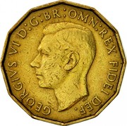 UK Three Pence George VI 1952 Proof KM# 873 GEORGIVS VI D:G:BR:OMN:REX FIDEI DEF. HP coin obverse