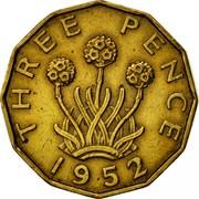 UK Three Pence George VI 1952 Proof KM# 873 THREE PENCE *YEAR* coin reverse
