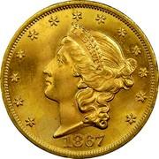USA Twenty D. Liberty Double Eagle 1867 KM# 74.2 LIBERTY DATE coin obverse