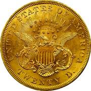 USA Twenty D. Liberty Double Eagle 1867 KM# 74.2 UNITED STATES OF AMERICA IN GOD WE TRUST TWENTY D. coin reverse