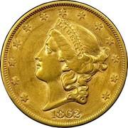 USA Twenty D. Liberty Head 1862 S KM# A74.1 LIBERTY coin obverse