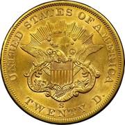 USA Twenty D. Liberty Head 1862 S KM# A74.1 UNITED STATES OF AMERICA TWENTY D. coin reverse