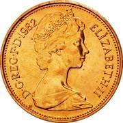 UK Two Pence Elizabeth II 1982 Proof KM# 928 D∙G∙REG∙F∙D∙1984 ELIZABETH∙II coin obverse