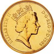 UK Two Pence Elizabeth II 1985 Proof KM# 936 ELIZABETH II D∙G∙REG∙F∙D∙1990 RDM coin obverse
