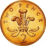 UK Two Pence Elizabeth II 1985 Proof KM# 936 TWO PENCE ICH DIEN 2 coin reverse