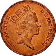 UK Two Pence Elizabeth II 1994 KM# 936a ELIZABETH II D∙G∙REG∙F∙D∙1993 RDM coin obverse