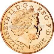 UK Two Pence Shield of the Royal Arms puzzle 2/6 2008 Proof KM# 1108 ELIZABETH∙II∙D∙G REG∙F∙D∙2009 IRB coin obverse