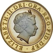UK Two Pounds Marconi Telegraph 2001 Proof KM# 1014a ELIZABETH∙II∙DEI∙GRA∙REG∙FID∙DEF ∙ IRB coin obverse