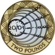 UK Two Pounds Marconi Telegraph 2001 Proof KM# 1014a 20/01 r.e. TWO POUNDS coin reverse