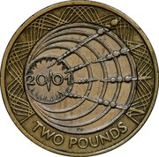 UK Two Pounds Marconi Telegraph 2001 KM# 1014 20/01 r.e. TWO POUNDS coin reverse