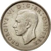 UK Two Shillings Florin 1943 KM# 855 GEORGIVS VI D:G:BR:OMN:REX HP coin obverse