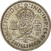 UK Two Shillings Florin 1943 KM# 855 :FID:DEF: :IND:IMP: G R K G TWO SHILLINGS *YEAR* coin reverse