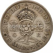 UK Two Shillings Florin 1948 KM# 865 :FID:DEF: :IND:IMP: G R K G TWO SHILLINGS *YEAR* coin reverse