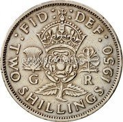 UK Two Shillings Florin 1950 KM# 878 :FID: :DEF: G R TWO SHILLINGS *YEAR* coin reverse