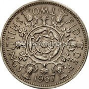 UK Two Shillings Florin 1967 KM# 906 FID: DEF: TWO SHILLINGS *YEAR* E∙F C∙T coin reverse