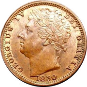 UK 1/2 Farthing George IV 1830 Large date KM# 704.2 GEORGIUS IV DEI GRATIA 1830 coin obverse