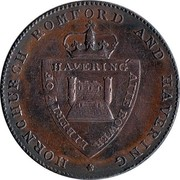 UK 1/2 Penny Essex - Hornchurch / George Cotton ND (1795)  HORNCHURCH ROMFORD AND HAVERING LIBERTY OF HAVERING ATTE BOWER coin reverse