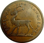 UK 1/2 Penny Freedom with innocence 1796  FREEDOM WITH INNOCENCE coin obverse