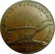 UK 1/2 Penny Freedom with innocence 1796  INDUSTRY * SUPPLIETH WANT 1796 coin reverse