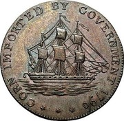 UK 1/2 Penny Gloucestershire - Badminton 1796  CORN IMPORTED BY GOVERNMENT 1796 coin obverse