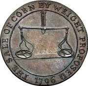 UK 1/2 Penny Gloucestershire - Badminton 1796  THE SALE OF CORN BY WEIGHT PROPOSED 1796 coin reverse