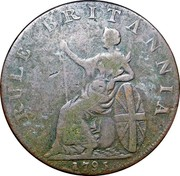 UK 1/2 Penny (Hampshire - Portsmouth / John Howard) RULE BRITANNIA 1795 coin reverse