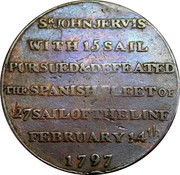 UK 1/2 Penny Hampshire - Portsmouth / Thomas Sharp ND (1797)  SIR JOHN JERVIS WITH 15 SAIL PURSUED & DEFEATED THE SPANISH FLEET OF 27 SAIL OF THE LINE FEBRUARY 14TH 1797 coin reverse