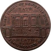 UK 1/2 Penny (Somerset - Bath / F. Heath) WEST FRONT OF NEW PUMP ROOM BATH. HEATH ∙ 1795 IRONMONGER ∙ & C ∙ coin reverse