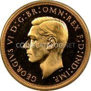 UK 1/2 Sovereign 1937 KM# 858 British Royal Mint Sovereign Coins GEORGIVS VI D:G:BR:OMN:REX F:D:IND:IMP. coin obverse