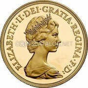 UK 1/2 Sovereign 1980 Proof KM# 922 British Royal Mint Sovereign Coins ELIZABETH·II·DEI·GRATIA·REGINA·F:D: coin obverse