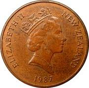 New Zealand 1 Cent Elizabeth II (3rd portrait) 1987 (l) Sets only KM# 58 ELIZABETH II NEW ZEALAND *YEAR* RDM coin obverse