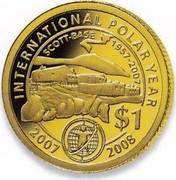 New Zealand $1 International Polar Year 2007 (m) Proof KM# 296 INTERNATIONAL POLAR YEAR SCOTT-BASE 1957-2007 $1 2007 2008 coin reverse