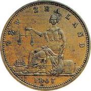 New Zealand 1 Penny Clark Archibald - Auckland 1857 KM# Tn12 NEW ZEALAND 1857 coin reverse