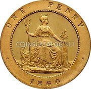 UK 1 Penny Joseph Moore Pattern Penny 1860 ONE PENNY 1860 coin reverse