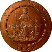 UK 1 Penny Joseph Moore Penny Pattern 1860 ONE PENNY 1860 coin reverse