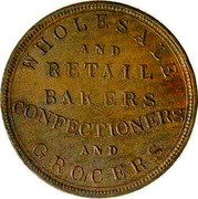 New Zealand 1 Penny Union Bakery Co. (1870-1879) KM# Tn65 WHOLESALE AND RETAIL BAKERS CONFECTIONERS AND GROCERS coin reverse