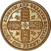 UK 1 Penny Victoria Pattern Penny 1860 Proof KM# Pn60 UNITED.KINGDOM.AND.GREATER.BRITAIN. ONE PENNY coin reverse