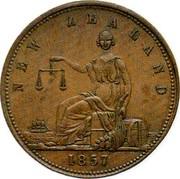 New Zealand 1 Penny Wilson A.S. - Dunedin 1857 KM# Tn71 NEW ZEALAND 1857 coin reverse