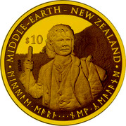 New Zealand $10 Bilbo Baggins 2012 Proof KM# 368 MIDDLE-EARTH - NEW ZEALAND $10 coin reverse