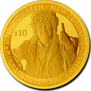 New Zealand $10 Bilbo Baggins 2012 Proof KM# 371 MIDDLE-EARTH - NEW ZEALAND $10 coin reverse