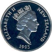 New Zealand 10 Cents Elizabeth II 1993 (l) Proof KM# 61 ELIZABETH II NEW ZEALAND *YEAR* RDM coin obverse