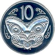 New Zealand 10 Cents Elizabeth II 1993 (l) Proof KM# 61 10 J B coin reverse