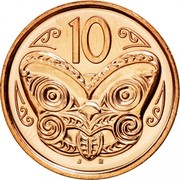 New Zealand 10 Cents Elizabeth II 2006 (o) KM# 117a 10 J B coin reverse