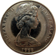 New Zealand 10 Cents (One Shilling) Elizabeth II (2nd portrait) 1968 Prooflike KM# 35 ELIZABETH II NEW ZEALAND *YEAR* coin obverse